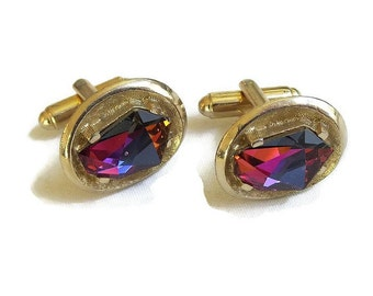 Vintage Faceted Watermelon Stones Signed Shields Cuff Links