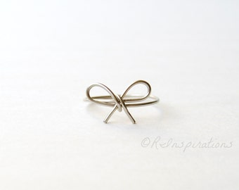 Wire Bow Ring - Silver Bow Ring - Stainless Steel