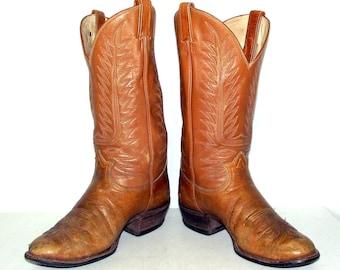 Broken In Tan Brown Tony Lama Cowboy Boots mens size 10 D / womens 11.5 western rockabilly