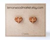 British heart earrings - alder laser cut wood earrings