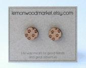 Dog paw earrings - alder laser cut wood earrings