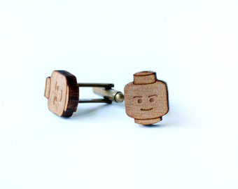 Legos cufflinks and tie tack/lapel pin set - Lego head