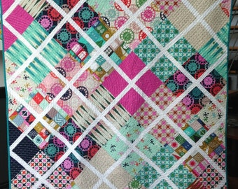 Handmade in Brooklyn 100% Cotton Patchwork Quilt Retro Funky Prints