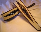 Custom Guitar Strap / Off-White Leather w/ Authentic Alligator Inlay / Original Design / Leather Lining and Trim, Padded, Ergonomic Comfort
