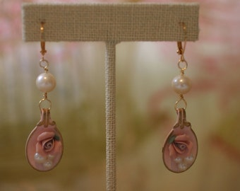 Shabby Chic Pink and Pearl Spoon Earrings