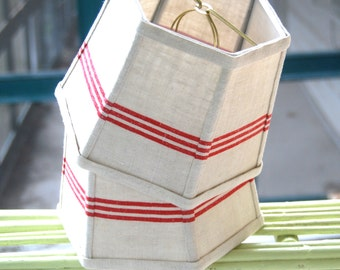 Red Lamp Shade French Lampshade Vintage Stripe Linen  - Cottage Decor - 6 x 8 x 6 Clip, Handmade Lighting - Bistro Look!