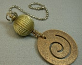Vintage Steampunk Gold Spiral Cut Out Metal Bead Fan Light Pull, Vintage Brass Beads, Vintage Gold Plated beads