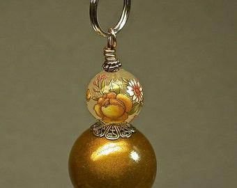 Vintage Japanese Tensha Bead Fan Light Pull Yellow Flower Rose , Vintage Gold Lucite Bead