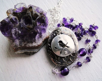 Little Bird Vintage Oval Locket in Silver and Amethyst, 24 in.