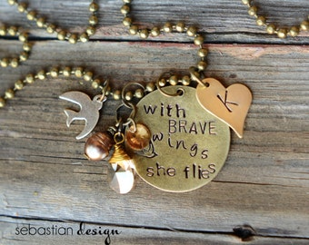 With Brave Wings She Flies Stamped Initial Necklace