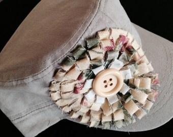 Military Cadet Hand Made Embellished Cap Khaki - Sand