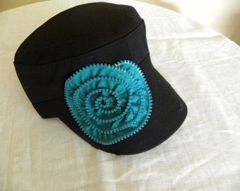 Black Military  Cadet Style Hat with  Teal Plastic Zipper  Embellishment