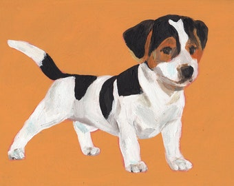 Puppy- small dog original acrylic painting painted on mdf - original animals art