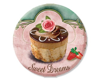"Pocket Mirror, Magnet or Pinback Button - Wedding Favors, Party themes - 2.25""- Sweet Dream Cupcake MR155"