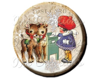 "Pocket Mirror, Magnet or Pinback Button - Favors - 2.25""- Vintage Christmas Sending Santa a Letter MR300"
