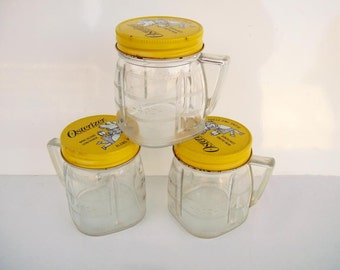 3 Vintage 1970s Kitchen Osterizer Mini Blend Container Lided Jars Storage Containers Plastic Jars