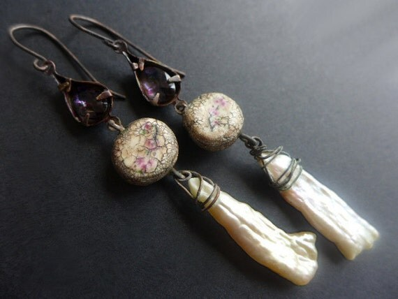 Aware. Long rustic assemblage earrings in white and pink with biwa pearls.