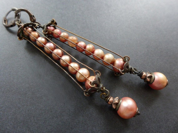 Tiny Moons.  Caged vintage glass pearl earrings in shades of rose.