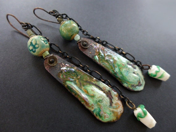 Gokotta. Emerald green rustic assemblage earrings with torch enameling.