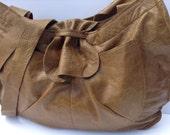Golden Tan Leather Tote Market Shoulder Bag