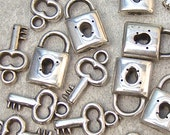 CLEARANCE - BULK Lock and Key Charms - CHOOSE Silver Padlock, Skeleton House Key - Antique Silver Tone Dbl Sided Metalized Plastic - DeSTASH