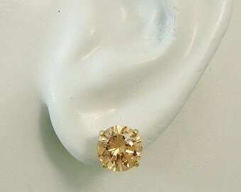Champagne Topaz Earrings, 14K Gold, Round Champagne Topaz Studs,Champagne Color Round Gemstone Earrings,  Golden Topaz Earrings, P14K8MRDCHT