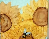 "Reserved for Anne K. ONLY Trio of Sunflowers With Bee Alcohol Ink Original Painting on Ceramic Tile 6"" x 8"""