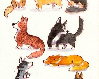 50 shades of corgi - Original Watercolor