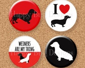 "Doxie Dachshund Magnet Set of 4 1.25"" 1-1/4 inch"