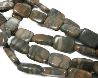 21mm Natural Canyon Marble Rectangle Beads