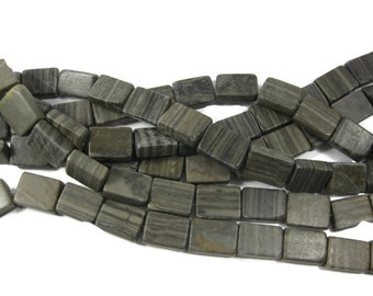 Natural Wood Marble Rectangle Beads