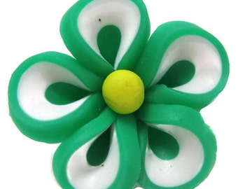 Green Polymer Clay Flowers 22mm Beads Set of 4