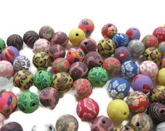 10mm Round Polymer Clay Beads Assorted Variety 100 pieces (B)