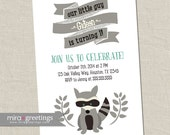 Raccoon Birthday Party Invitations - Little Woodland Birthday Party Invites - vintage baby first birthday (Printable Digital File)