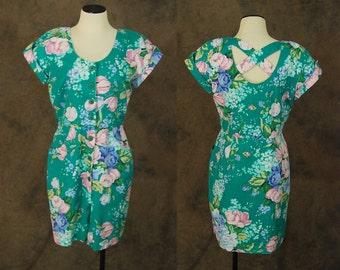 CLEARANCE Sale vintage 80s Dress - 1980s Green Floral Cut Out Back Dress Floral Jean Dress Sz M L