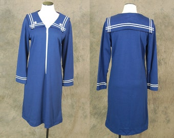 vintage 60s Sailor Dress - 1960s Nautical Shift Dress - Navy Blue Wool Knit Dress Sz L