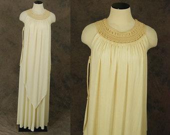 vintage Maxi Dress - 70s Knotted Collar Draped Cream Dress - 1970s Boho Wedding Gown Sz S M