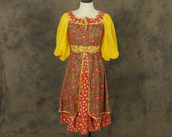 vintage 70s Peasant Dress - 1970s Red and Yellow Floral Prairie Dress - Patchwork Gypsy Hippie Dress Sz S
