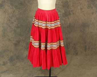 vintage 50s Circle Skirt - Red Squaw Patio Skirt 1950s Country Western Skirt Sz S