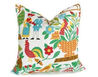 Farm House Pillow Covers, Colorful Folk Art Pillows, Eclectic Throw Pillows, Country Pillows, Boho Chic Home Decor, 16x16, 18x18, 20x20
