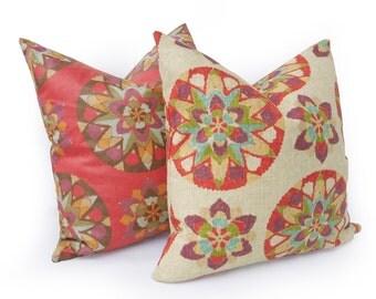 Suzani Throw Pillow, Cream Decorative Pillows, Colorful Boho Pillow Covers, Coral Red Purple, Boho Decor, 14x20 Lumbar, 18x18, 20x20, SALE