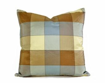 Blue Tan Designer Pillow, 16x16,  Modern Plaid Cushion Cover, Brown Blue Taupe Wheat, Luxury Silk Pillows, Contemporary Home Decor
