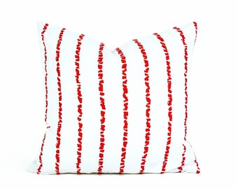 Red White Striped Pillows, Decorative Throw Pillow Covers, Red White Stripes, Unique Pillow Covers, Spring Home Decor 18x18