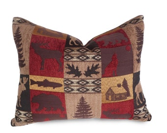 Cabin Pillows, Wildlife Pillow Cover, Moose, Bears, Rustic Pillows, Cottage Country Pillow, Lake House Decor, 14x18, 18x18