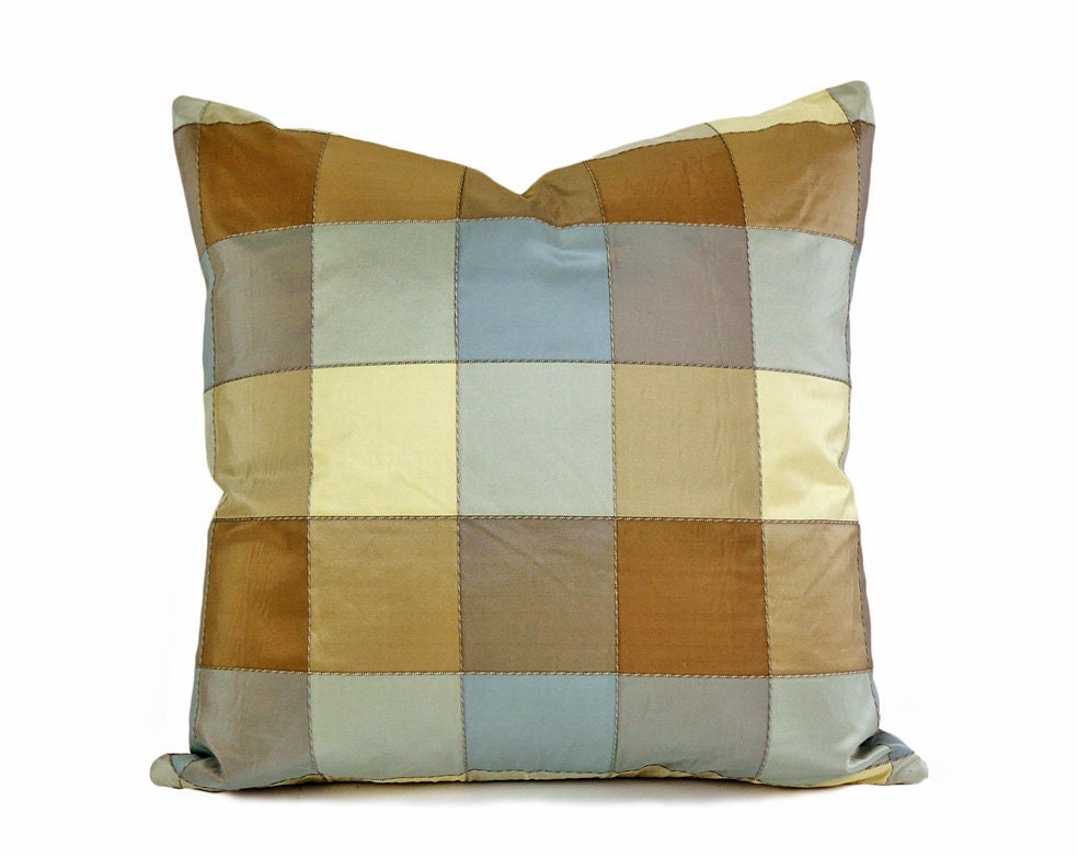 Blue Tan Designer Pillow 16x16 Modern Plaid Cushion Cover