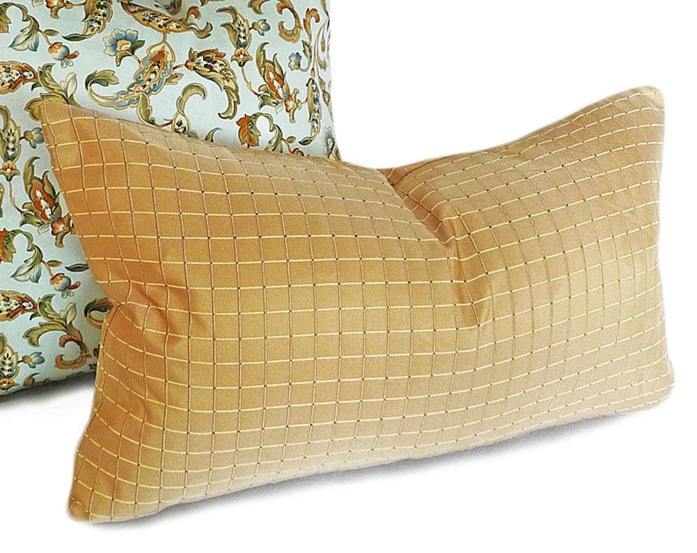 Gold Lumbar Pillows 12x20 Tan Decorative Throw Pillows