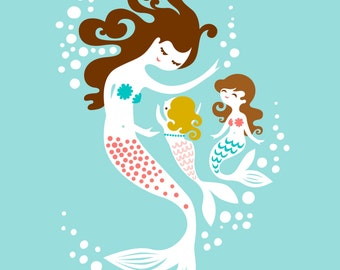 "8X10"" mermaid mother & two daughters. soft teal blue, warm pink, dark blonde, brunette."