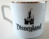 Sleeping Beauty Castle Disneyland Coffee Mug 1982  Cup Japan Gold Trim Cinderella