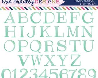 Aqua Blue Alphabet Clipart Instant Download Commercial Use Clip Art Alpha for Digital Scrapbooking