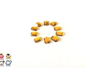 Yellow Bead, beads, gem, gems, gem beads, amber, plastic, craft, crafting, supplies, crystal-like, small, rectangular, rectangle, set of 10